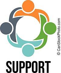 gens, logo, quatre, groupe, support.