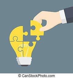 gens, lumière, puzzle, main, partie, mettre, ampoule