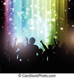 gens, lumières, bokeh, fond, fête, 2102