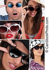 gens, lunettes soleil port