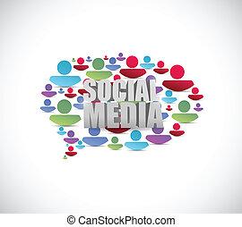 gens, média, bubble., illustration, parole, social