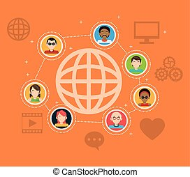 gens, média, connexion globale, social, articles