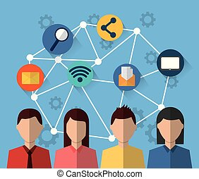 gens, média, travail, communication, internet, social