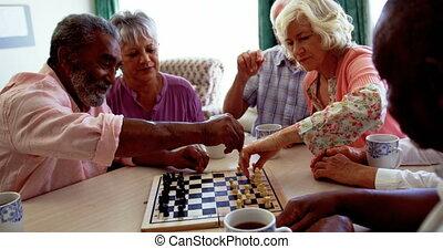 gens, mélangé-race, 4k, jeu, soins, actif, échecs, personne...