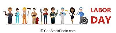 gens, métiers, différent, jour, main-d'œuvre, célébrer