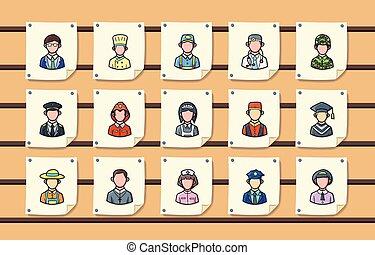 gens, métiers, icônes, ensemble