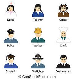 gens, métiers, icônes