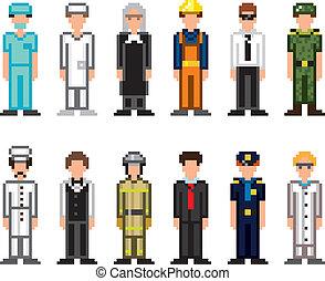 gens, métiers, pixel, art, icônes