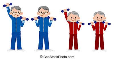 gens, mûrir, liftin, groupe, plus vieux