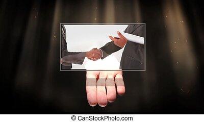 gens, main, divers, projection, écrans