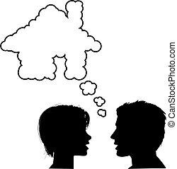 gens, maison, couple, maison, rêve, discuter
