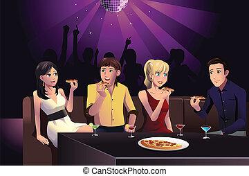 gens, manger, jeune, pizza