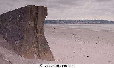 gens marcher, mur, plage, pierre