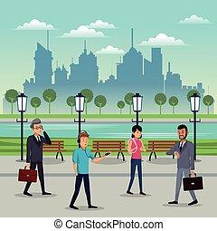 gens marcher, parc, urbain, fond