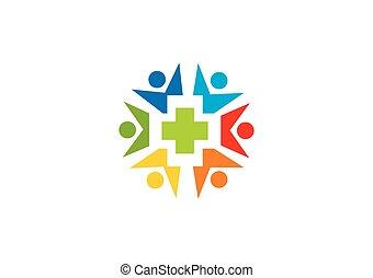 gens, medic, vecteur, santé, logo, cercle