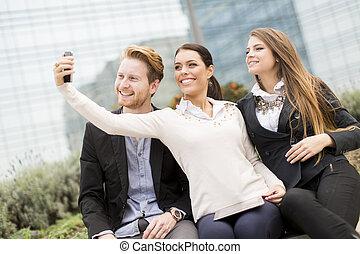 gens, mobile, photo, prendre, jeune, téléphone