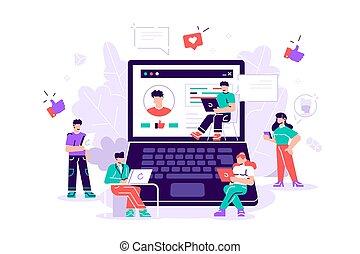 gens, mobile, utilisation, gadgets
