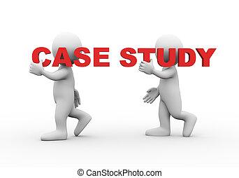gens, mot, étude, 3d, texte, cas
