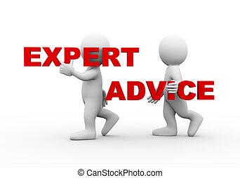 gens, mot, expert, 3d, conseil, texte