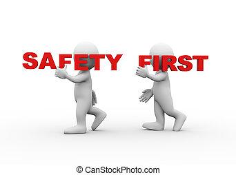 gens, mot, sécurité, 3d, premier, texte