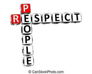 gens, mots croisés, fond, respect, blanc, 3d