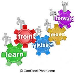 gens, mouvement, erreurs, engrenages, apprendre, en avant!, escalade