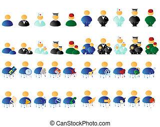 gens, multicolore, icônes