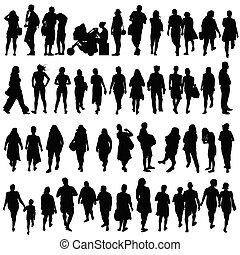 gens, noir, couleur, silhouette, vecteur