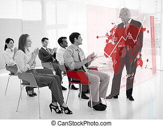 gens, noir, interface, applaudir, debout, stakeholder, business, futuriste, carte, blanc rouge, devant