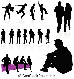 gens, noir, silhouette