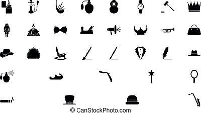 gens, noir, style, couleur, ensemble, concept, vendange, solide, image