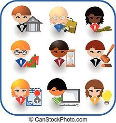 gens, occupations., icône, ensemble