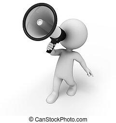 gens, orateur, bruyant, 3d, blanc