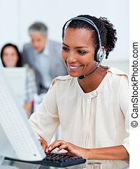 gens, ordinateurs, business, fonctionnement, concentré