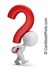 gens, ours, question, -, marque, petit, 3d
