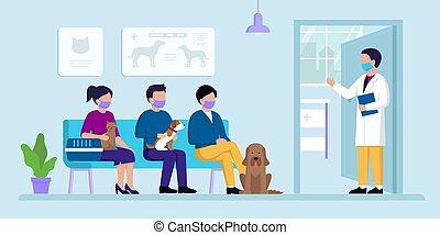 gens, ouvre, rendez-vous, cabinet, concept., vétérinaire, illustration, séance, sien, clinique, chiens, autre, porte, style, attente, conjugal, vecteur, plat, vétérinaire, chats, pets., visitors.