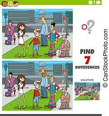 gens, pédagogique, différences, jeu, dessin animé