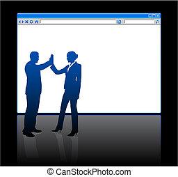 gens, page, fond, vide, navigateur web, business