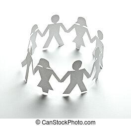 gens papier, coupure, connexion, communauté