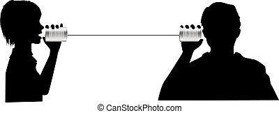 gens, parler, écouter, sur, téléphone boîte fer blanc,...
