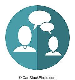 gens parler, bulle, parole, communication, ombre