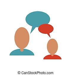gens parler, bulle, parole, communication