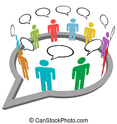 gens, parler, rencontrer, intérieur, social, média, parole