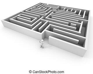gens, passé, les, labyrinthe