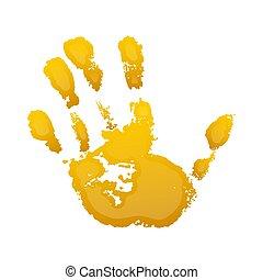 gens., paume, gens, symbole, 3d, art, humain, grunge, vecteur, fingers., silhouette, isolé, peinture, identité, arrière-plan., impression, résumé, gosse, blanc, handprint., main, illustration, texture., jaune, conception, enfant