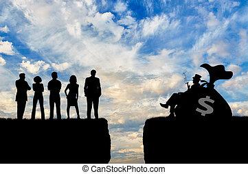 gens pauvres, entre, inégalité, riche, social