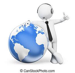 gens., penchant, opérateur, mondiale, blanc, 3d