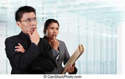 gens, pensée, business, asiatique, deux