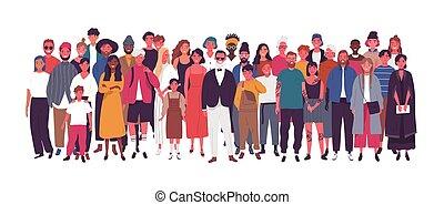 gens, personnes agées, isolé, société, divers, ensemble., population., debout, groupe, jeune, arrière-plan., blanc, femmes, multinational, plat, dessin animé, multiethnic, gosses, illustration., hommes, vecteur, ou