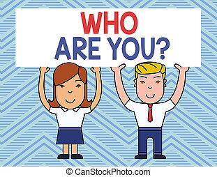 gens, photo, signe, vide, sourire, information, deux, demander, aérien, planche, tenue, texte, conceptuel, vous, quelqu'un, hands., grand, projection, question., affiche, identité, deux, sur, demonstratingal, ou
